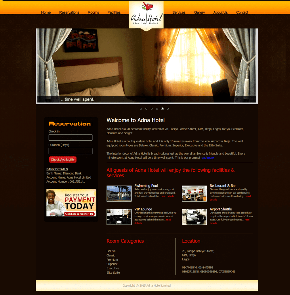 Adna Hotel's Website (Old Look)
